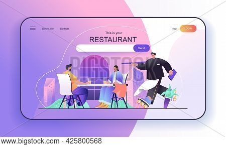 This Is Your Restaurant Concept For Landing Page. Couple At Lunch In Cafe Or Cafeteria, Waiting Orde