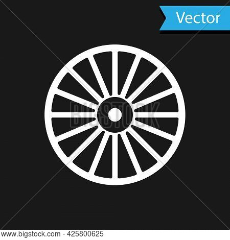 White Alloy Wheel For A Car Icon Isolated On Black Background. Vector