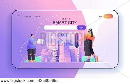 This Is Your Smart City Concept For Landing Page. Cityscape, Modern Urban Infrastructure, Wireless M