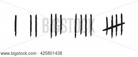 Tally Marks From One To Five. Hand Drawn Lines Or Sticks. Simple Mathematical Count Visualization, P
