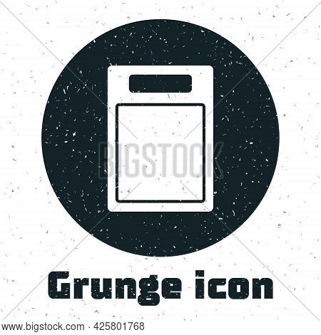 Grunge Cutting Board Icon Isolated On White Background. Chopping Board Symbol. Monochrome Vintage Dr