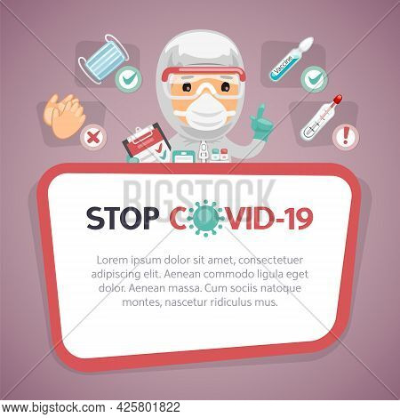 Stop Covid-19 Warning Red Poster With Cartoon Doctor Character And Infographic Elements. Mask, Vacci
