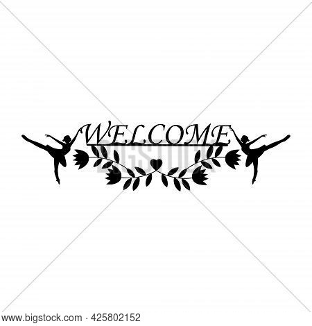 Greeting Text On The Entrance Sign On The Door, Color Vector Isolated Illustration.