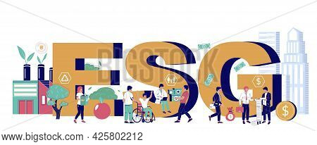 Environmental, Social And Corporate Governance Typography Banner Template, Vector Isometric Illustra