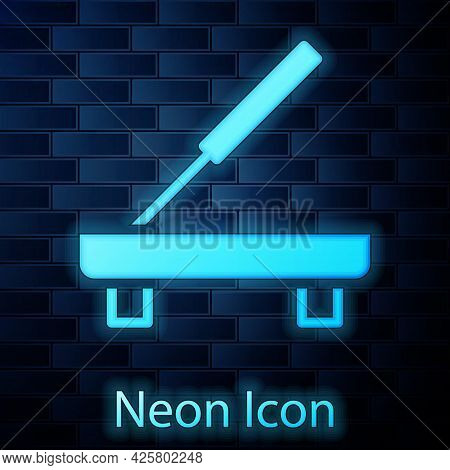 Glowing Neon Scented Spa Stick On A Wooden Stand Icon Isolated On Brick Wall Background. Incense Sti