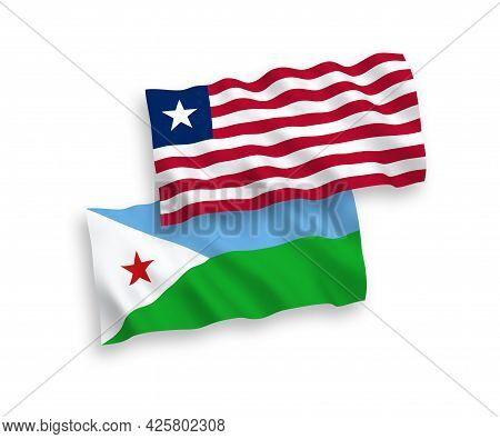 National Fabric Wave Flags Of Republic Of Djibouti And Liberia Isolated On White Background. 1 To 2
