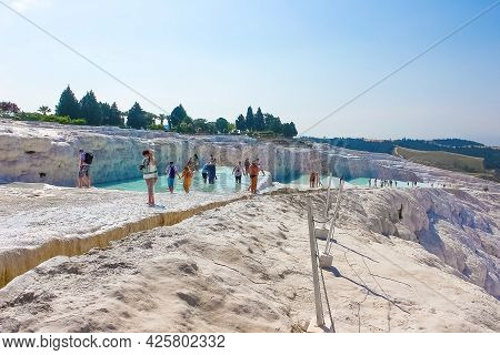 Travertines In Turkey. Calcite Cliff Of Pamukkale.