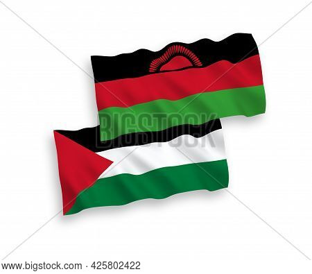 National Fabric Wave Flags Of Malawi And Palestine Isolated On White Background. 1 To 2 Proportion.