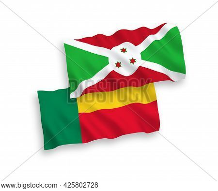 National Fabric Wave Flags Of Burundi And Benin Isolated On White Background. 1 To 2 Proportion.