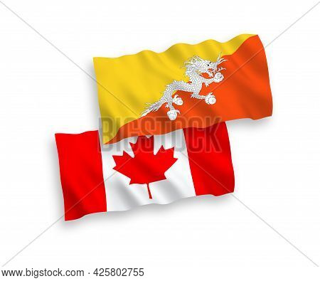 National Fabric Wave Flags Of Canada And Kingdom Of Bhutan Isolated On White Background. 1 To 2 Prop