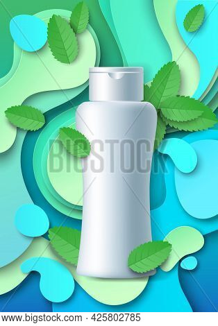 White Blank Cosmetic Bottle Mockup, Paper Cut Mint Leaves, Splash, Vector Illustration. Mint Hair Sh