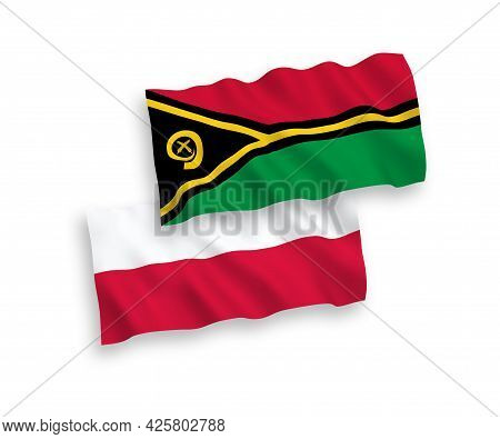 National Fabric Wave Flags Of Republic Of Vanuatu And Poland Isolated On White Background. 1 To 2 Pr