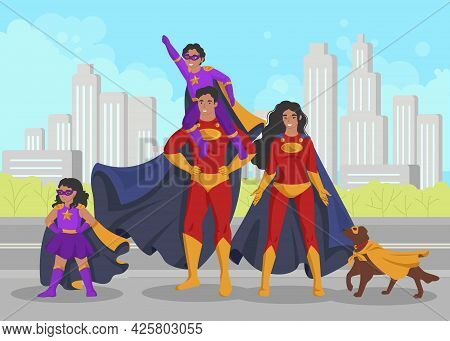 Superhero Family, Flat Vector Illustration. Happy Smiling Mom, Dad, Kids And Pet Dog Wearing Cape, M
