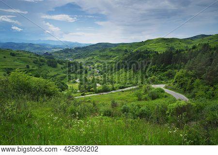 Summer panoramic landscape of Maramures county, Romania, Europe