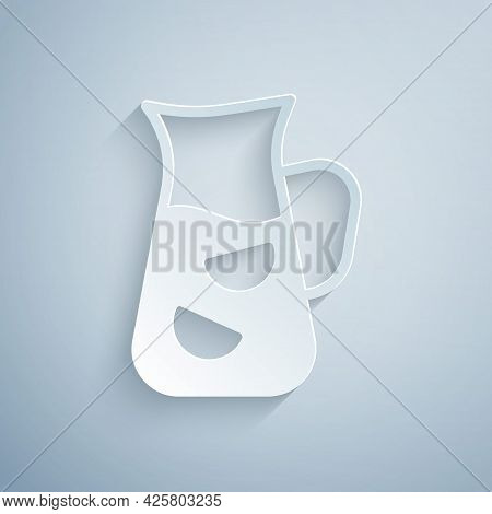 Paper Cut Sangria Icon Isolated On Grey Background. Traditional Spanish Drink. Paper Art Style. Vect