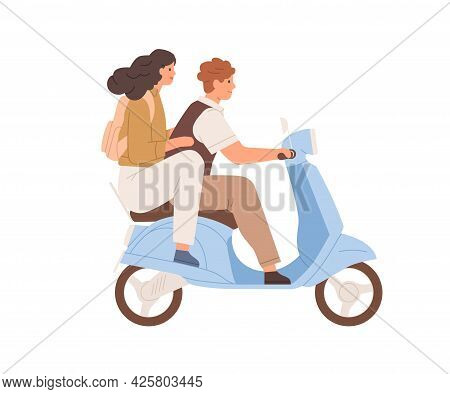 Happy Love Couple Traveling On Modern Motor Scooter Together. Side View Of Man Driving Moped And Wom