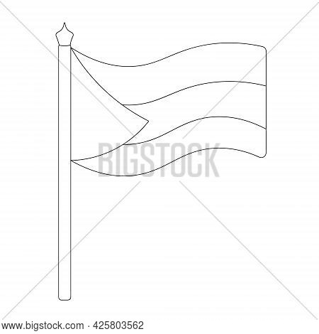 Flag Of Palestine, Sudan, Bahamas And Others. Sketch. Vector Illustration. Coloring Book For Childre