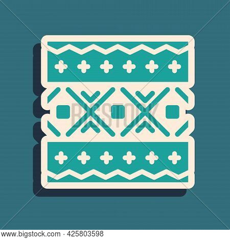 Green Ukrainian Ethnic Pattern For Embroidery Icon Isolated On Green Background. Traditional Folk Ar