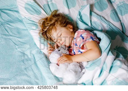 Cute Little Toddler Girl Sleeping In Bed With Favourite Soft Plush Toy Dog. Adorable Baby Child Drea