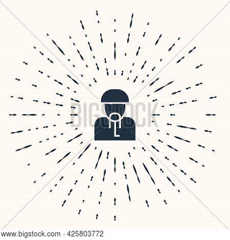 Grey Ukrainian Cossack Icon Isolated On Beige Background. Abstract Circle Random Dots. Vector