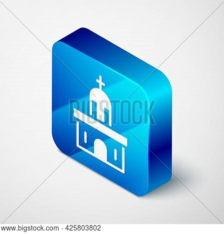 Isometric Church Building Icon Isolated On Grey Background. Christian Church. Religion Of Church. Bl