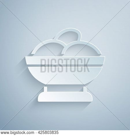 Paper Cut Varenyky In A Bowl Icon Isolated On Grey Background. Pierogi, Varenyky, Dumpling, Pelmeni,