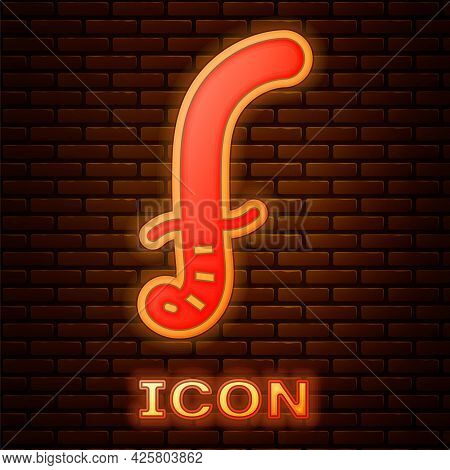 Glowing Neon Medieval Sword Icon Isolated On Brick Wall Background. Medieval Weapon. Vector