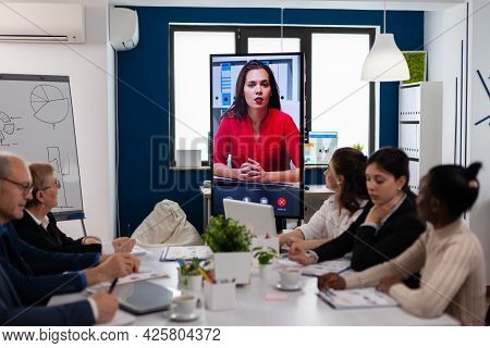 Young Ceo Speaking To Camera During Virtual Business Video Presentation For Business Partners. Busin