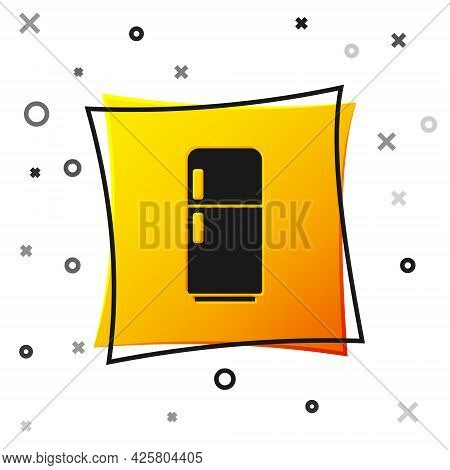 Black Refrigerator Icon Isolated On White Background. Fridge Freezer Refrigerator. Household Tech An