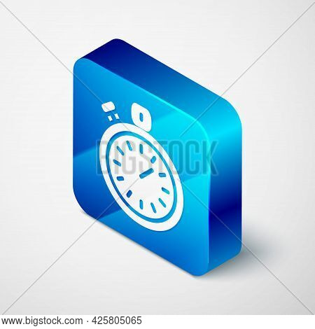 Isometric Stopwatch Icon Isolated On Grey Background. Time Timer Sign. Chronometer Sign. Blue Square