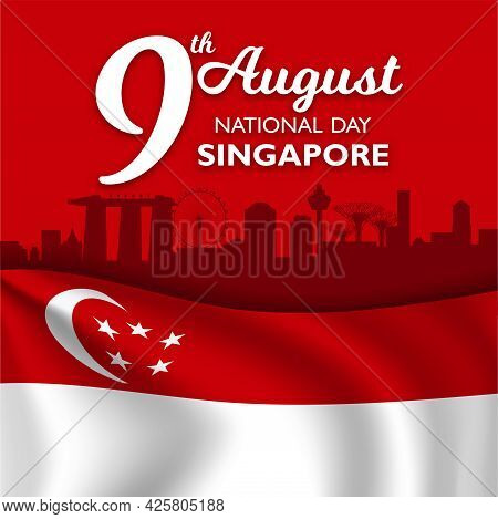 Singapore National Day Banner With Singapore Flag Waving.
