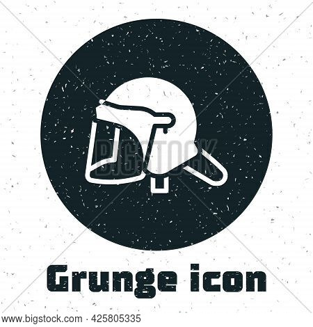 Grunge Police Helmet Icon Isolated On White Background. Military Helmet. Monochrome Vintage Drawing.