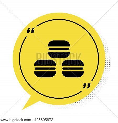 Black Macaron Cookie Icon Isolated On White Background. Macaroon Sweet Bakery. Yellow Speech Bubble