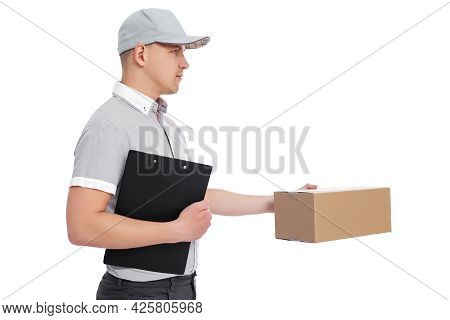 Side View Of Deliverer With Clipboard And Box Isolated On White Background