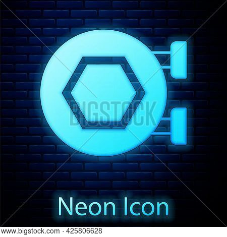 Glowing Neon Hanging Sign With Honeycomb Isolated On Brick Wall Background. Signboard Icon. Honey Ce