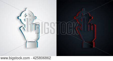 Paper Cut Target Financial Goal Concept Icon Isolated On Grey And Black Background. Symbolic Goals A