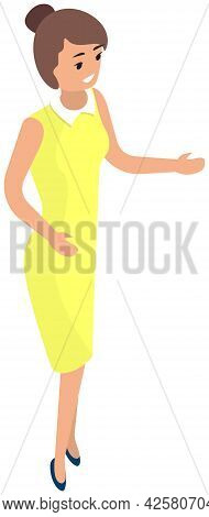 Girl Dressed In Yellow Dress Isolated On White Background. Female Character Speaks, Tells To Someone