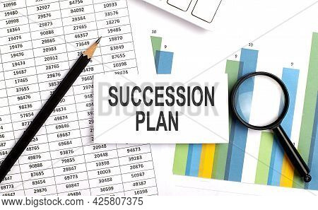 Succession Plan Text On White Card On Chart Background