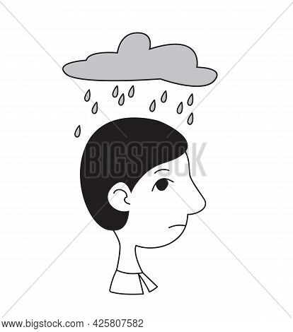 A Man S Head In Profile With A Cloud And Rain Above Him. Concept Of Psychological Problems, Depressi