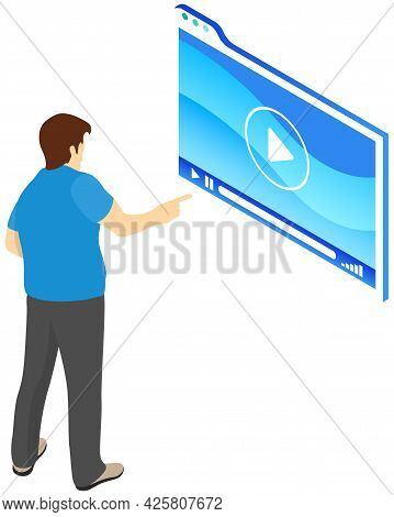 Video Player On Tablet Near Man Presses Buttons, Presentation Board. Mobile Device For Watching Digi