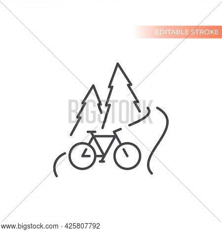 Outdoors Biking Line Vector Icon. Nature Scape With Road, Pines And Bicycle, Editable Stroke.