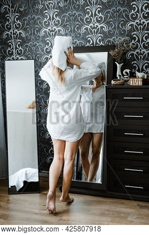 Self Care, Beauty, Skin Routine, Everyday Skin Care And Wellness. Young Woman In Pajamas And Towel O