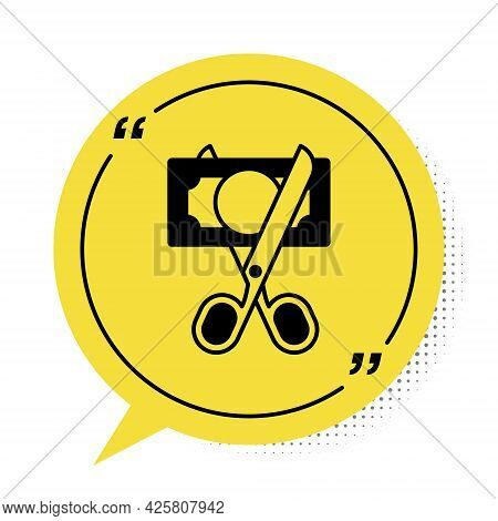 Black Scissors Cutting Money Icon Isolated On White Background. Price, Cost Reduction Or Price Reduc