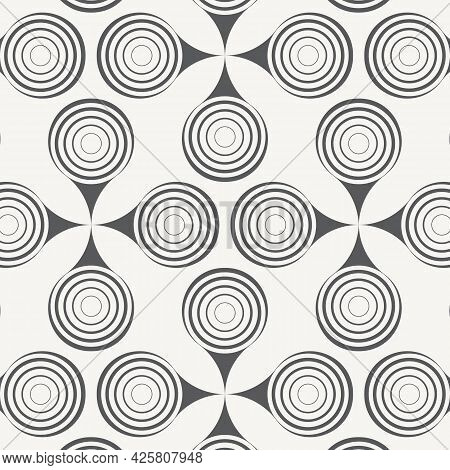 Vector Pattern, Repeating Circles In Wavy Line, Modern Stylish Monochrome. Pattern Is Clean For Fabr
