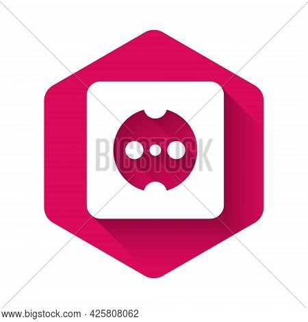 White Electrical Outlet Icon Isolated With Long Shadow Background. Power Socket. Rosette Symbol. Pin
