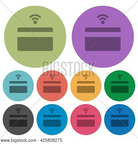 Contactless Credit Card Darker Flat Icons On Color Round Background
