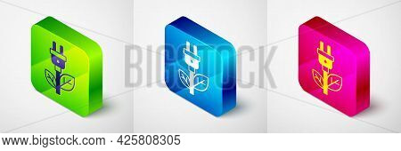 Isometric Electric Saving Plug In Leaf Icon Isolated On Grey Background. Save Energy Electricity. En