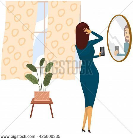 Selfie Of Brunette Sensual Woman Wearing Blue Dress. Girl Is Photographed In Mirror On Mobile Phone