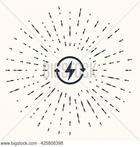 Grey Recharging Icon Isolated On Beige Background. Electric Energy Sign. Abstract Circle Random Dots