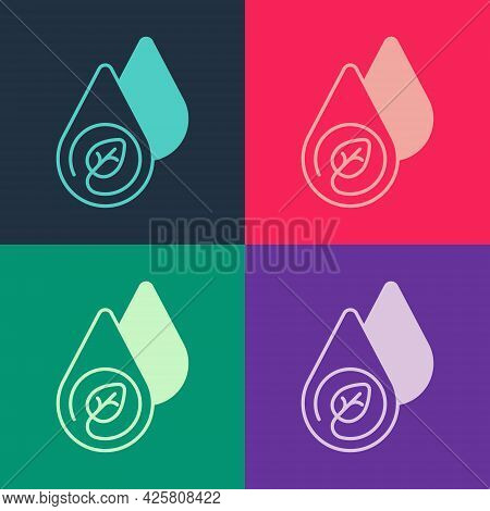 Pop Art Water Energy Icon Isolated On Color Background. Ecology Concept With Water Droplet. Alternat